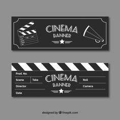 Film banners with sketches of elements in vintage style Free Vector Sleepover Birthday Parties, Diy Birthday, Diy Eid Cards, Kino Box, Certificate Of Achievement Template, Backyard Movie Nights, Banners, Ticket Design, Embroidery On Clothes