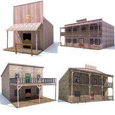 4 Western Houses 3D Model - 3D Model