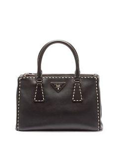 V2B8T Prada City Mini Galleria Tote Bag, Black/White