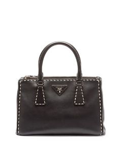 V2B8T Prada City Mini Galleria Tote Bag, Black/White