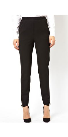 You can't go wrong with a nice pair of black pants, but you don't have to pull from your mom's closest to find a work-appropriate pair. You want to avoid anything too tight and save the super skinny styles for weekends and class. But feel free to play with different styles beyond the classic trouser style.  The best part? You can wear them multiple times a week with different tops, and no one will know.  High Waist Pants with Zips, $46, asos.com   - Seventeen.com