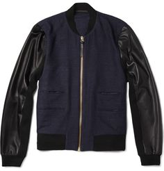 Paul Smith Leather-Sleeved Textured-Weave Wool-Blend Bomber Jacket | MR PORTER