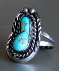 Vintage Puebo Turquoise Gem Sterling silver by Timelessinmymind, $86.00