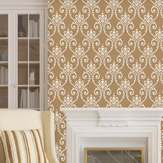Wall Damask Stencil Erica, Allover Wall Pattern for DIY decor Stenciling Damask Wall Stencils, Stencil Fabric, Stencil Patterns, Wall Patterns, Wall Stenciling, Types Of Craft, Vinyl Wall Stickers, Easy Diy Projects, Cabinet Doors