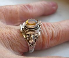 Sterling poison ring citrine poison ring 925 by artsandadornments