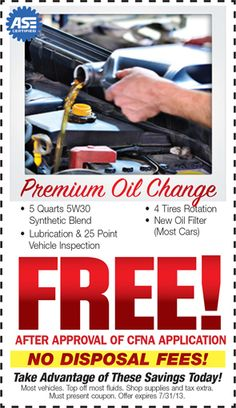 FREE Premium Oil Change When You Apply For The CFNA Credit Card!