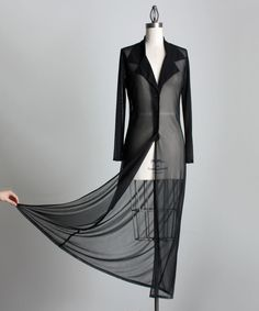 SHEER BLACK COAT 1990s Vintage Black Sheer Layering Coat Dress. $50.00, via Etsy.
