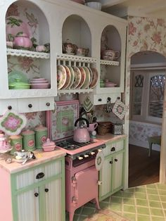 My Miniature Madness: Storybook Cottage Dollhouse Vitrine Miniature, Miniature Rooms, Miniature Kitchen, Miniature Houses, Miniature Furniture, Dollhouse Furniture, Dollhouse Interiors, Doll House Miniatures, Dollhouse Supplies