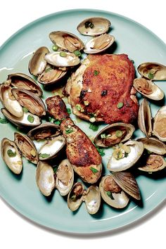Chicken and clams, oysters and sausage, mussels and chorizo — who says you need to stick to steak and lobster? Steak And Lobster, Clam Recipes, Seafood Recipes, Swordfish Recipes, Great Chicken Recipes, Surf And Turf, Shellfish Recipes, Portuguese Recipes, World Recipes