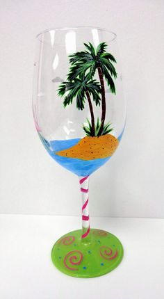 Flamingo Wine Glass beach wine glass hand by Pendragonartworks