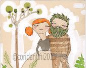 Man and woman print about LOVE - sickeningly sweet - by cori dantini - 8 x 8 - limited edition - archival.