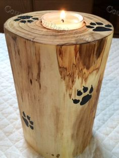 Tea Light Log Candle Holder by CountryOutbackCrafts on Etsy