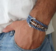 Men's Bracelet - Blue And White Fabric Bracelet With Silver Plated Anchor - Men's Jewelry - Nautical Jewelry - Anchor Jewelry