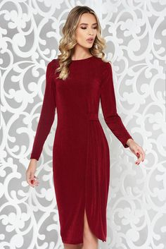 StarShinerS burgundy dress occasional from elastic fabric with tented cut long sleeve, tented cut, long sleeves, elastic fabric, thin fabric Burgundy Dress, Basic Style, Product Label, Occasion Dresses, Long Sleeve, Sleeves, Fabric, Tela
