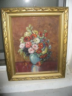 Signed Glenn F Bastian floral still life Oil on Canvas  American Indiana Artist  #Impressionism