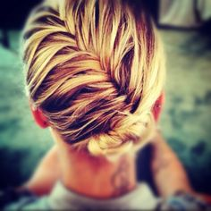 """french fishtail with a bun. great for fine hair! Yes, great for fine hair, also looks """"elegant"""" Victorian.""""old fashioned look"""" and keep hair looking stylish on hot days! Love Hair, Great Hair, Gorgeous Hair, Awesome Hair, Braided Hairstyles Updo, Pretty Hairstyles, Braided Updo, Summer Hairstyles, Wedding Hairstyles"""