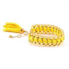 Woven Yellow Leather bracelet
