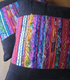 two cushions, Isabel Moore - Threadnoodle, machine embroidery Silk Ribbon Embroidery, Embroidery Art, Embroidery Stitches, Machine Embroidery, Fiber Art Quilts, Textile Fiber Art, Textile Artists, Fabric Art, Fabric Crafts