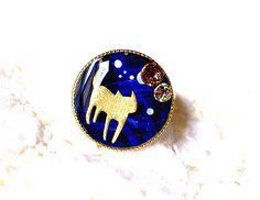 ハンドメイドマーケット minne(ミンネ)| 猫とスワロのリングフリーサイズDブルー