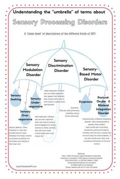 A cute handout to explain the different types of sensory processing disorder that are out there! SPD has 3 categories and many sub-categories. It can be confusing! This is a great sensory processing resource for parents, teachers, and therapists! #missjaimeot #spd #autism #adhd #sensory #ASD #classroom #teach #learn #school #OT #pediot #sensorythings A cute handout to explain the different types of sensory processing disorder that are out there! SPD has 3 categories and many sub-categories. It c Occupational Therapy Activities, Sensory Therapy, Counseling Activities, Sensory Activities, Speech Therapy, Sensory Processing Disorder Symptoms, Sensory Disorder, Auditory Processing, Sensory Diet