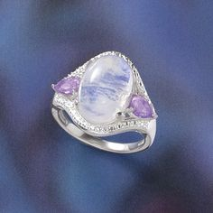 Sterling Pink Amethyst,Rainbow Moonstone Ring - New Age & Spiritual Gifts at Pyramid Collection