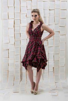 Deep Red Tartan Trench Dress