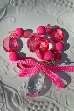Chunky Bubblegum Necklace Girls Boutique Jewelry Bright Tropical Colors Pink.