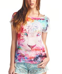 This Off-White & Pink Tiger Lace-Back Scoop Neck Tee by Charlie Charlie is perfect! #zulilyfinds