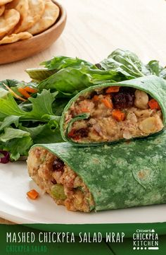 This Mashed Chickpea Salad Wrap recipe couldn't be more simple and delicious. It's perfect for a family picnic, and an easy and healthy option for work or kid's lunches.