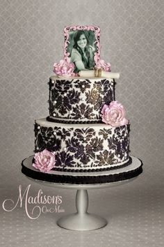 Black damask with edible pink photo topper.... By DonnaOK
