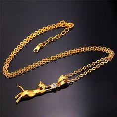 Cat Necklace & Pendant Rhodium/Gold Plated Trendy Rhinestone Pet Charm