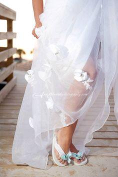 Beach wedding Bride's flip flops