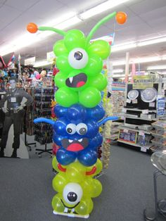 Make your party a Monster Smash with this not-so-scary monster balloon column created at our Weatherford location. Visit your local Wally's Party Factory for more fun balloon ideas! #party #balloons #monsters