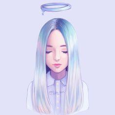Pastel angel by Hiba-tan on DeviantArt Art Anime Fille, Anime Art Girl, Hiba Tan, Digital Art Girl, Cute Drawings, Girl Drawings, Realistic Drawings, Cartoon Art, Cute Art