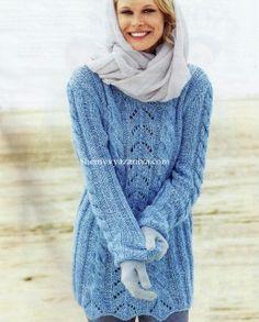 Пуловер резинкой и косами Размеры: 38/40 (42/44) 46/48 http://shemyvyazaniya.com/page/pulover-rezinkoj-i-kosami