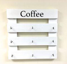 Items similar to Coffee mug rack, coffee cup display, reclaimed wood, kitchen storage, kitchen deco Coffee Mug Storage, Coffee Cup Rack, Coffee Mug Display, Coffee Mug Holder, Coffee Mugs, Coffee Beans, Coffee Scrub, Coffee Cozy, Coffee Creamer