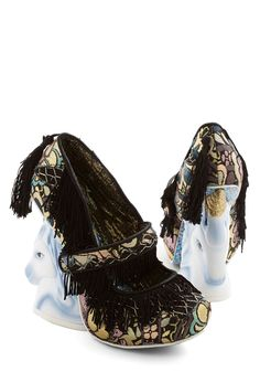 We'll Myth You Heel. Your pal is known for her statement-making looks, so for her going-away party, you channel her style with these bold heels from the exclusive Gold Label of Irregular Choice! #black #modcloth