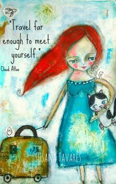 Travel quote girl cat wall art print mixed media by SusanaTavares, $18.00