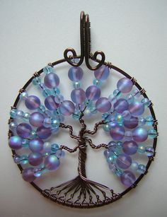 Blue and Purple Tree of Life Wire Wrapped by RachaelsWireGarden, $40.00