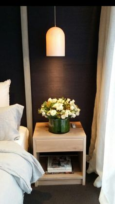 American Oak Bedside Tables featured on The Block Triple Threat 2015 for Darren And Deanne's master bedroom reveal. Furniture Inspiration, Interior Inspiration, Bedroom Inspiration, Home Bedroom, Master Bedroom, Bedroom Ideas, Awesome Bedrooms, Beautiful Bedrooms, Pendant Lighting Bedroom