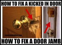 How to Repair Fix a Kicked in Split Cracked Door Jamb Frame Casing ...