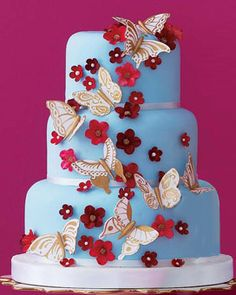 The 50 Most Beautiful Wedding Cakes: Robyn Van Tuyl modeled her creation after a wallpaper pattern. Blue fondant cake with gum-paste cherry blossoms and gold luster-painted pastillage butterflies. Thirteen dollars per slice, serves 45; robynlovescake.com. Pedestal, L'Objet, michaelcfina.com  light blue and red
