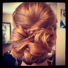 Wedding hair, updo, braid, bun,    Hair I did yesterday.
