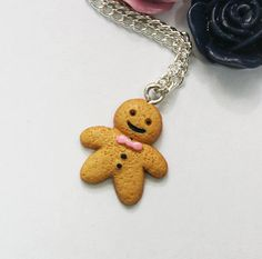 Gingerbread Man Necklace in Antique Silver   by paperpistolcharms, $6.95