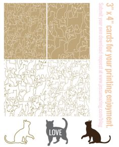 """#freeprintable cats outline cards, 3"""" x 4"""""""