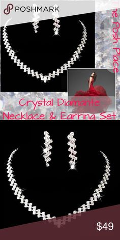 Crystal Diamante Necklace & Earring Set   Crystal Diamante Necklace & Earring Set  Special Occasion  Prom  Wedding  Formal  Event Jewelry  Bling  Jewelry