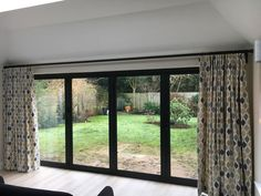 Hallwright bi-fold door pole only two brackets over wide Door Curtain Pole, Bay Window Curtain Poles, Wooden Curtain Poles, Corner Curtains, Dining Room Curtains, Door Curtains, Hanging Curtains, Curtains With Blinds, House Blinds