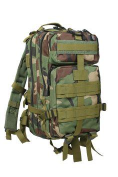 Woodland Camo Medium Transport Pack Bag Camouflage MOLLE Hiking Backpack