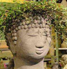 Buddha Head Planter in Cast Stone