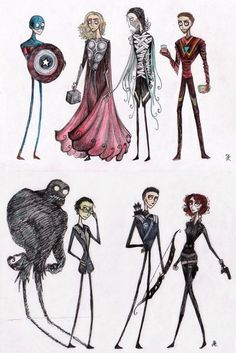 What the Avengers look like if they were designed by Tim Burton?